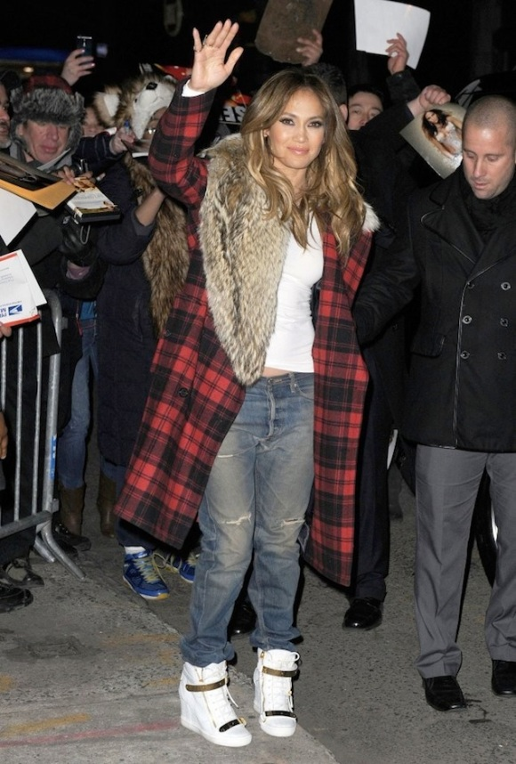 Jennifer-Lopez-wearing-Michael-Kors-Tartan-Plaid-Fur-Collar-Wool-Coat-and-Giuseppe-Zanotti-Wedge-Sneakers-2
